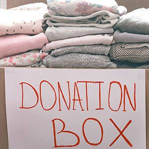 Box of clothes ready for donating