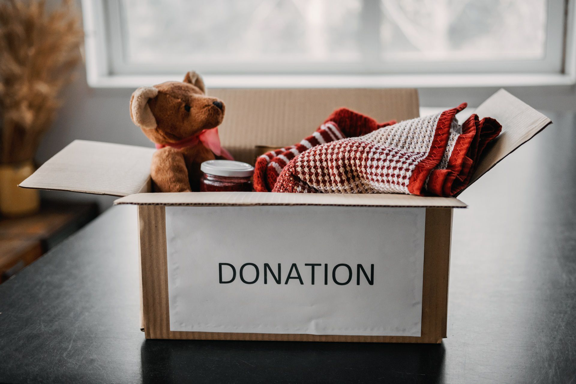 donation box filled with charitable goods
